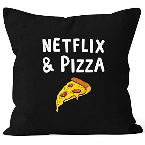 MoonWorks Kissen-Bezug Netflix & Pizza Kissen-Hülle Deko-Kissen Baumwolle schwarz Unisize