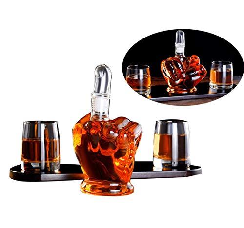 XYYMC Mittelfinger Form Glass Whisky Karaffe Dekanter mit 2 Stück Whisky Glasses Set,1000ml Weinbehälter Barware Für Wodka Rotwein -als Geschenk- Vatertag, Weihnachten Und Geburtstag