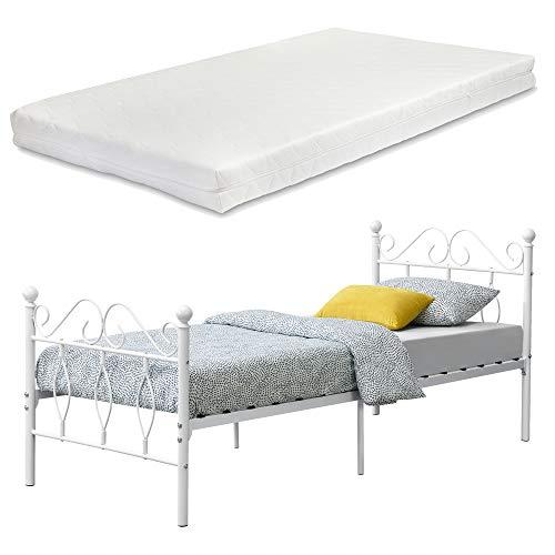[en.casa] Metallbett Apolda 90x200 cm Jugendbett mit Matratze und Lattenrost Einzelbett mit Kaltschaummatratze bis 200kg Weiß