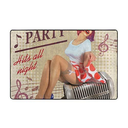 Wdoci Badematte Teppich,Karaoke Vintage Poster mit sexy Pin-Up-Mädchen Badezimmerteppich 45cmx75cm