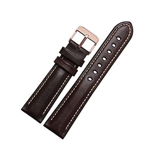 18mm/20mm/21mm/22mm clásico cuero auténtico reemplazo de la armadura llana mujeres de los hombres del reloj pulsera de la pulsera de la banda con herramientas de instalación, 22mm