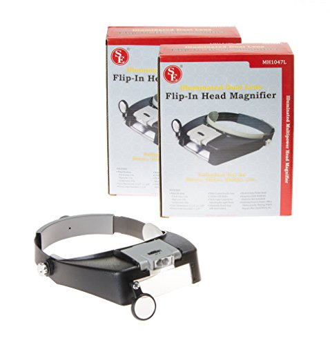 SE Illuminated Dual Lens Flip-in Head Magnifiers (Pack of 2) - MH1047L-2