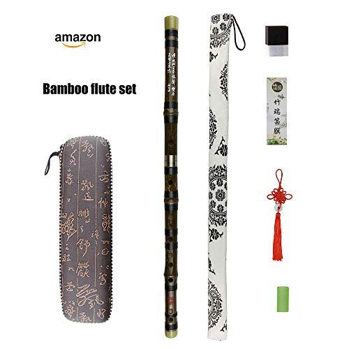 C Key Dizi Black bambú Flute con membrana libre y pegamento
