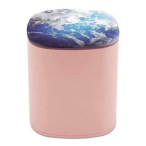 Rotar la caja de joyería Diseño Tierra Meteorología Nube Ciclón Satélite caja de joyería titular pequeña con espejo, diseño de múltiples capas plato de joyería para mujeres y niñas