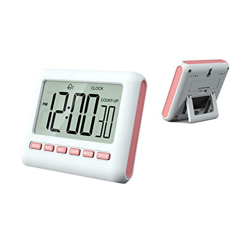 MOUISITON 12/24 Hours Magnetic Kitchen Timers with Digital Alarm Clock Timer, Big Screen Loud Alarm & Strong Magnet, Count-Up & Count Down for Kitchen Baking Sports Games Office Study (Pink)