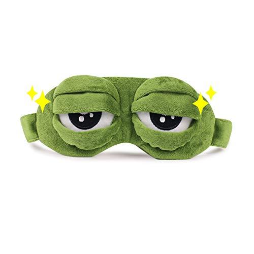 El dormir lindo de ojos Máscara 3D triste albergue cubierta del ojo divertido de la rana Sleeping Eye Mask Parche de ojo niños Máscara de viaje con los ojos vendados de los ojos (Color : A)