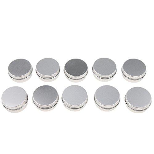 Sharplace 10 Pcs 10ML/15Ml Boîte à Baume Nail Art Pot de Crème Cosmétique Make Up Rouge à Lèvres Boîtier en Aluminium - argent, A-10ML-3,5 x 1,8 cm