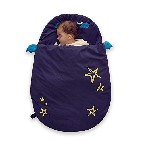Bebamour Anti Kick Babyschlafsack Safe Nights Cotton Babyschlafsack 2,5 Tog 0-18 Monate und älter Cute Infant Boy Girls Schlafsack Baby Wickeldecke (Blau)