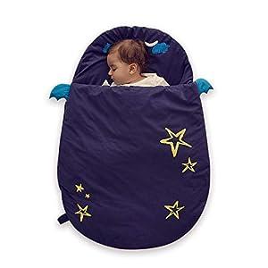 Bebamour Anti Kick Saco de dormir para bebés Noches seguras Saco de dormir de algodón para bebés 2.5 Tog Lindo saco de dormir para bebés y niñas Manta para bebés (Blue/50-85cm/0-18 meses+)