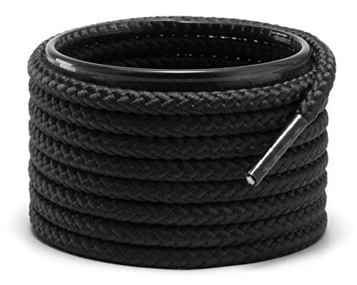 Shoemate Braided Round Boot Shoelaces for Hiking Shoes and Work Boots, Shoe Strings, 01 Black, 42'(107cm) 3-Hei