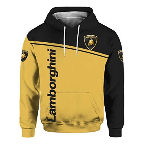 Cronell Story Unisex Langarm Hoodie 3D Digital International Lamborghini Logo Print Sweatshirt Lässiges Sweatshirt (2,XL)