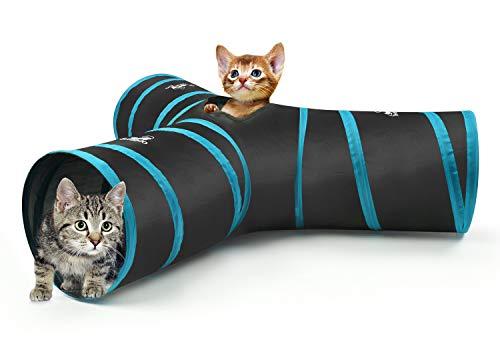 Pawaboo Túnel para Gatos, Prima 3 Vías Túneles Extensible Plegable Gato Jugar Túnel Casa del Laberinto del Juguete con Pompón y Campanas para Gato Gatito Cachorro Conejo, Negro y Azul
