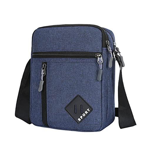 ZSDFW Bandolera para hombre y hombre, con múltiples cremalleras, para el trabajo, negocios, impermeable, Oxford, bolsa de viaje, color azul