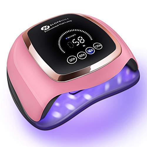 Slopehill 168W Lampada UV Unghie,Fornetto unghie, lampada led unghie, lampa unghie UV con 4 regolazione del timer, Strumenti per unghie con sensore automatico per fornetto unghie semipermanente