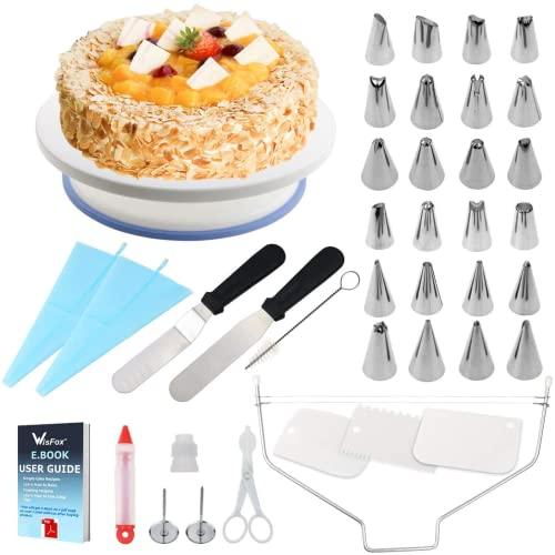 WisFox Cake Turntable, Torta Giratoria, Decoración de pasteles 24 Boquillas Torta giratoria, 2 piezas Espátula de formación de hielo, Bolso de pastelería, Sirope de torta, Cortador, Flor levantado