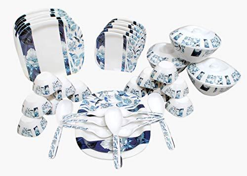 Gift Zone Melamine Square Dinner Set (White and Blue) - 40 Pcs