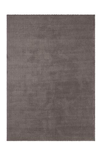Lalee Wohlfühlteppich mit sehr weicher Haptik, Taupe, 80 x 150 cm