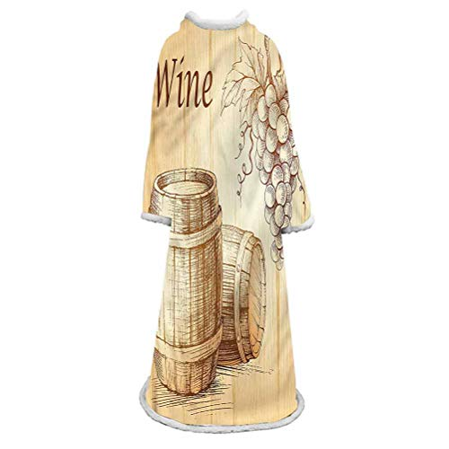 Wine Sherpa Wearable Blanket with Sleeves Arms, Barrels Bunch of Grapes Large Throw Blanket,Large Fleece Plush Sleeved TV Throws Wrap Robe Blanket for Lounge Chair Couch Sofa