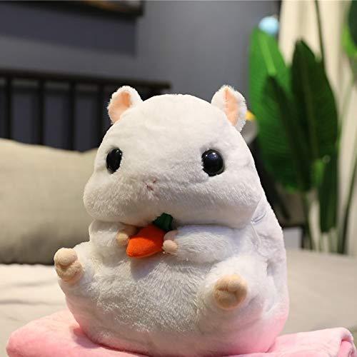 Süße Hamster Plüsch Spielzeug 3 in 1 Multifunktions Hamster Hand warm mit Decke Spielzeug Hamster Kissen Kinder Spielzeug Geburtstagsgeschenk for Kind, Größe: Spielzeugwärmer Decke, Farbe: Grau dedu