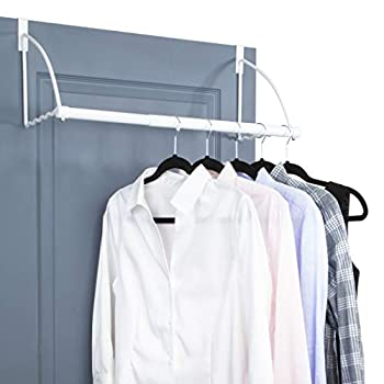 """Over The Door Closet Valet- Over The Door Clothes Organizer Rack and Door Hanger for Clothing or Towel Home and Dorm Room Storage and Organization - Fits Doors up Till 1¾"""" Thick White"""