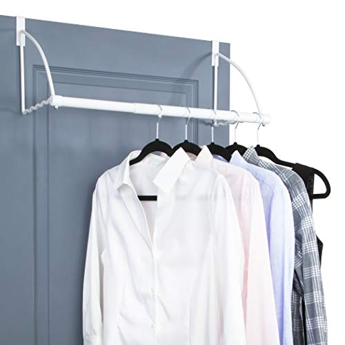 """Over The Door Closet Valet- Over The Door Clothes Organizer Rack and Door Hanger for Clothing or Towel, Home and Dorm Room Storage and Organization - Fits Doors up Till 1¾"""" Thick(White)"""