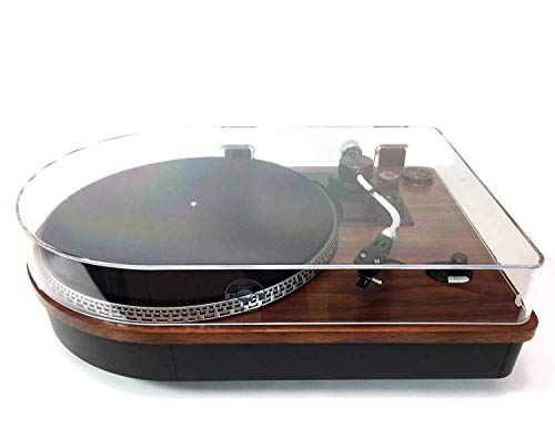 Steepletone Camden 2 Speed Record Player with Built In Amplifier, Separate Speakers and Ability to Connect Smartphones,Tablets etc for Bluetooth Playback in dark wood finish
