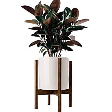 Timeyard Acctractive Mid Century Floor Plant Stand - Solid Wood Indoor Flower Pot Holder - Modern Home Decor (Planter Not Included)