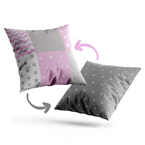 Funda cojin - Funda Almohada Bebe de algodón Fundas de Cojines Decorativos para niños cojin Infantil (Rosa Blanco Gris, 60 x 60 cm)
