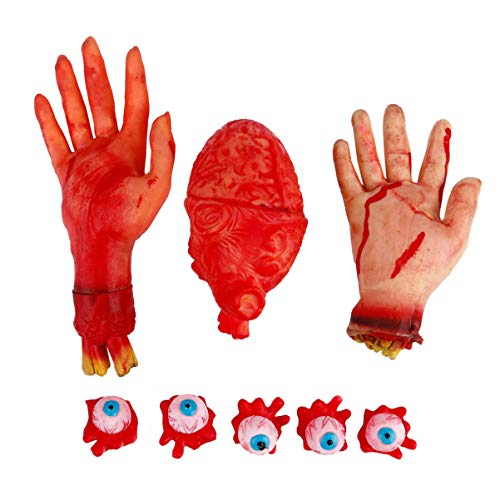 TOYANDONA Halloween Beängstigend Gebrochene Hand Herz Auge Ball Spielzeug Gefälschte Abgetrennte Hände Gruselige Organe Requisiten für Geisterhaus Geheime Kammerparty