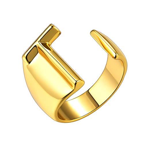 GoldChic Anillos Letras T para Hombres Talla Ajustable Argolla Oro con Iniciales de Nombre