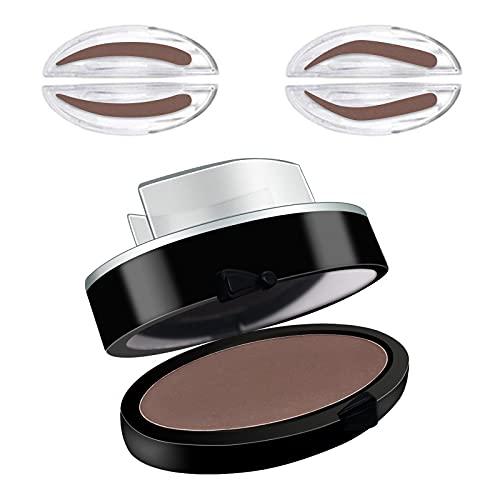Plantillas para cejas kit, Sello para cejas, polvo para cejas con forma natural que te brinda una hermosa ceja para principiantes en maquillaje, marrón oscuro