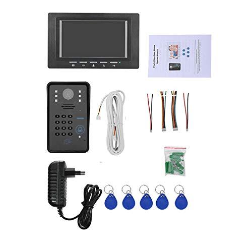 WXZQ 7 Pulgadas RFID Monitor de contraseña Videoportero Teléfono Intercomunicador Timbre con cámara IR Visión Nocturna 1000 Línea de TV Sistema de Control de Acceso Enchufe Negro de la UE (1 Monitor)