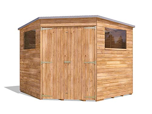 Dunster House Pent Roof Pressure Treated Wooden Garden Storage Building Workshop Dad's Corner Shed W2.4m x D2.4m