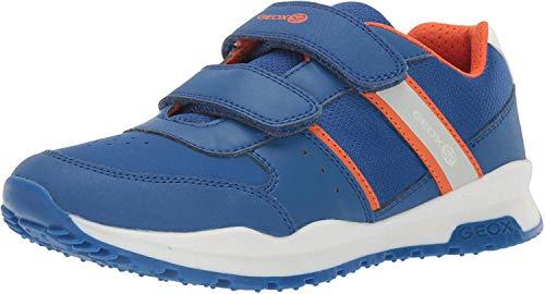 Geox Jungen Low-Top Sneaker CORIDAN Boy J925DA Kinder Halbschuh,Sportschuh,Klettschuh, Klett-Verschluss,ROYAL/ORANGE,30