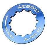 perfeclan Aleación de Aluminio Bicicleta Ciclismo 11 T Cassette Cubierta Bicicleta Rueda Libre Tornillo de fijación 11 Dientes Volante Tapa de Bloqueo - Azul
