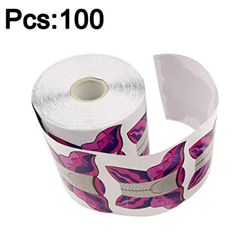 Lot de 100/500 moules à ongles autocollants en forme de papillon pour nail art - Gel UV - Pour manucure - Rose rouge