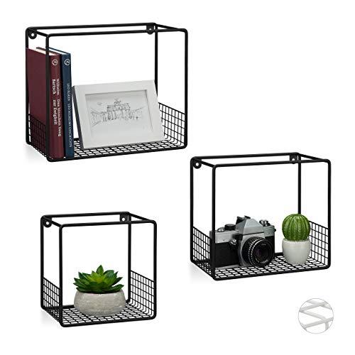 Relaxdays Wandrek in 3-delige set, voor woonkamer, modern roosterdesign, hoekig wandboard, metaal, 15 cm diep, zwart, 3 stuks
