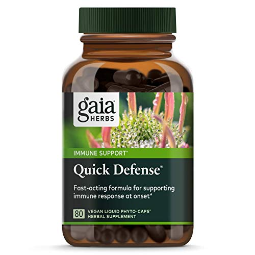Gaia Herbs, Quick Defense, Fast-Acting Immune Support, echinacea, Ginger Root, Sambucus Black Elderberry, Vegan Liquid Phyto Capsules, 80Count