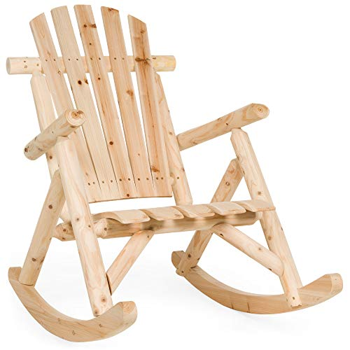 Best Choice Products Indoor Outdoor Wooden Log Rocking Chair