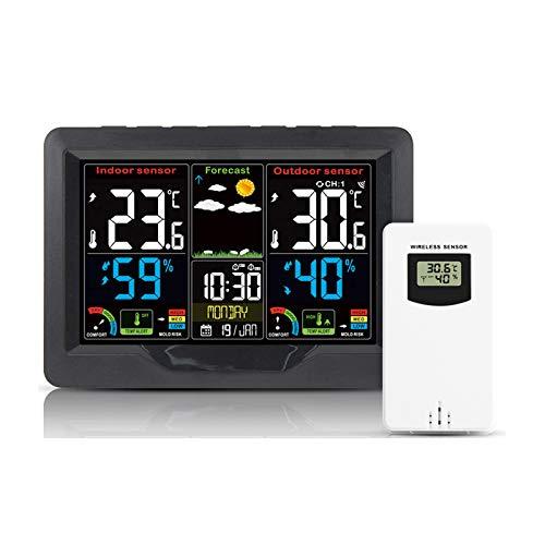 Stazione meteo wireless digitale per interni ed esterni, igrometro con sveglia barometro temperatura umidità monitor con sensore esterno, display colorato (nero)