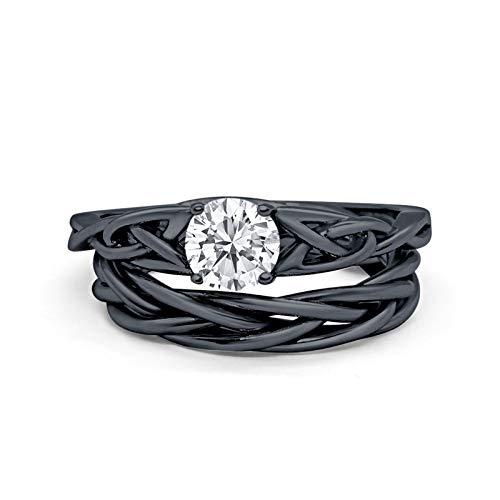 Blue Apple Co. Round Black Tone Simulated Cubic Zirconia Celtic Trinity Wedding Engagement Band Ring Braided Two Piece Bridal SetSize-7