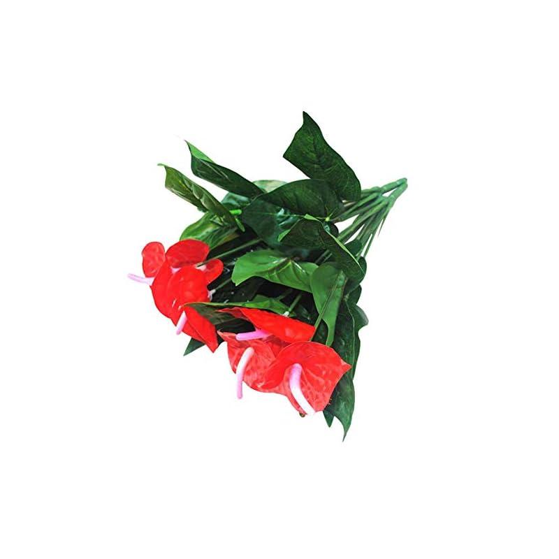 silk flower arrangements shineweb anthurium artificial flower, fake durable no-fading, ornamental indoor decor handicrafts flower - 1 pc