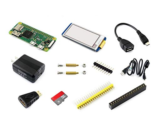 Waveshare Raspberry Pi Zero W Built-in WiFi Development Kit Type E Micro SD Card Power Adapter with 2.13inch e-Paper Hat Display and Basic Components