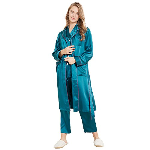 LilySilk Women's Silk Pajamas & Robe Set with Contrast Trim 3pcs Sleepwear Pure Natural Mulberry 22 Momme Collar Dark Teal XXL