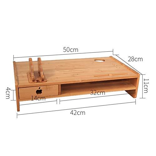 Verhoogde plank computer monitor scherm, multifunctionele ondersteuning, de desktop toetsenbord opslag doos, bamboe verhogen de basis frame voor office familie (Maat: 40x28cm)