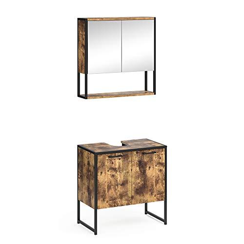 Vicco Loft Badmöbel Set Fyrk Spiegelschrank Hochschrank Midischrank Unterschrank (Vintage, Set 1)
