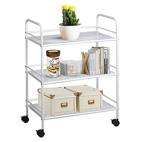 Yaheetech 3-Tier Rolling Metal Storage Organizer - Mobile Utility Cart, Kitchen Cart with Caster Wheels, Shelf/Utility Cart on Wheels Storage