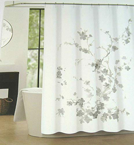 Tahari Home Luxurious Fabric Shower Curtain- Printemps 2 Gray and Taupe on White