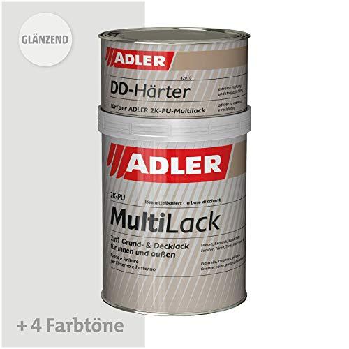 ADLER Fliesenlack glänzend RAL7035 Lichtgrau - 1kg inkl. Härter - Hochwertige Fliesenfarbe mit hervorragenden Hafteigenschaften für diverse Untergründe, Grund- und Decklack