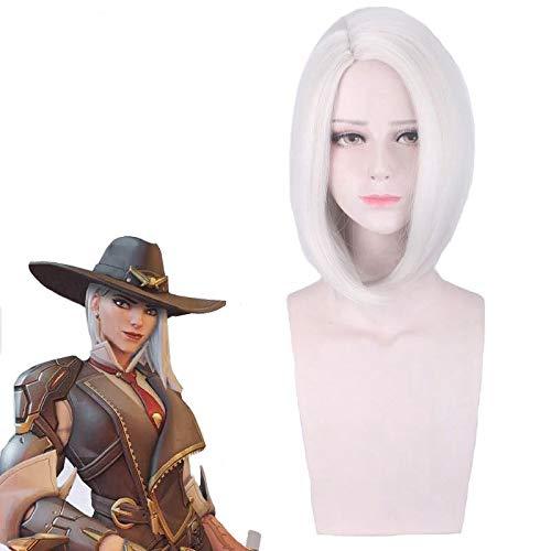 Juego Overwatch Ashe Cosplay peluca corta recta resistente al calor pelo sinttico Ow plata-blanco disfraz fiesta pelucas Pl-337